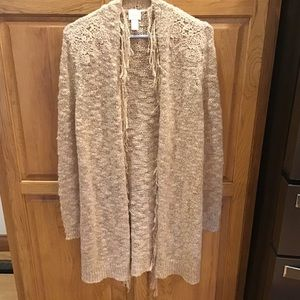 Chico's Size 0 Long Open Ivory Cardigan
